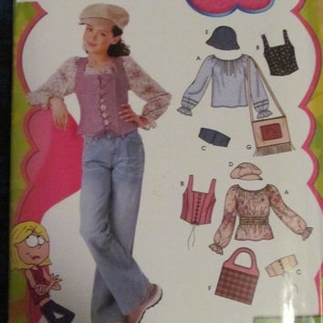SALE Uncut Simplicity Sewing Pattern, 5396! Size 8-16 Girls/Kids/Children, Vests/Shirts/Hats/Purses, Lizzie McGuire/Disney Inspired, Corset