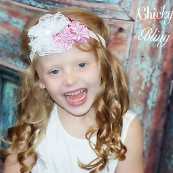 Gatsby Girl Satin and Lace Flower Headband