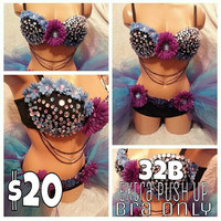 PRE-MADE Blue Daisy Rave Bra, Rave Outfits, EDC Costume, Custom Rave Outfit