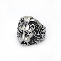Fashionable popular cool male lion head pattern stainless steel ring