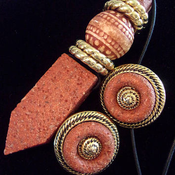 Modernist Resin-Clay Terracotta Necklace Earrings Set, Made In Italy, Vintage