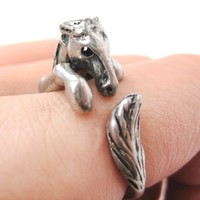 Detailed Horse Pony Animal Wrap Around Ring in Silver - Size 4 to 9 Available