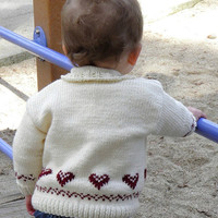 Baby Cardigan Hand Knit Cream with Red Hearts Size 12 Months