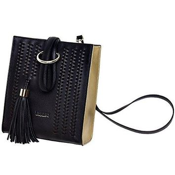 FIGESTIN Women Leather Crossbody Bag Special Black Small Cute Shoulder Purse Messenger Bags