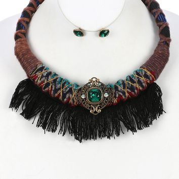 Black Faceted Glass Stone Braided Fabric Cord Bib Necklace And Earring Set
