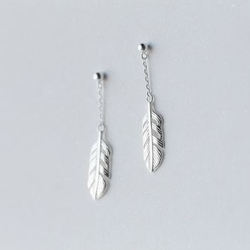lady's new 1Pair REAL. 925 Sterling Silver Jewelry Round Beads &Angel Wings /Bird Feather Long Drop Earrings Dangle GTLE1477
