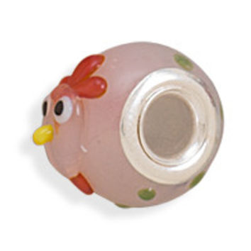 Pink Rooster Bead