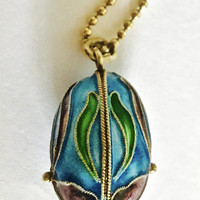 "Vintage Sterling Cloisonné Egg Pendant with Iris Flower Design and 18"" Gold Washed Sterling Ball Chain"