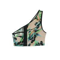 Clover Canyon Womens Printed One Shoulder Swim Top Separates