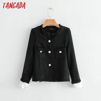 Trendy Tangada women tweed jacket female new arrival 2018 autumn black jacket coat button long sleeve office ladies outwear JN58 AT_94_13