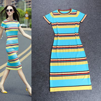 Knitted Short Sleeves Horizontal Stripes Midi Dress