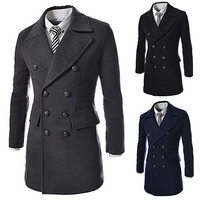 Slim Fit Men Fashion Double Breasted Wool Coat