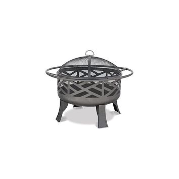 Uniflame Wood Outdoor Firebowl With Geometric Design