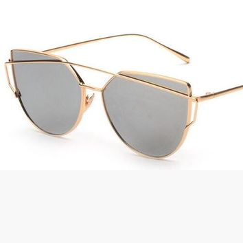 Fashion Women Cat Eye Sunglasses ClassicTwin-Beams Rose Gold Frame Sun Glasses for Women Mirror Flat Lense Sunglass