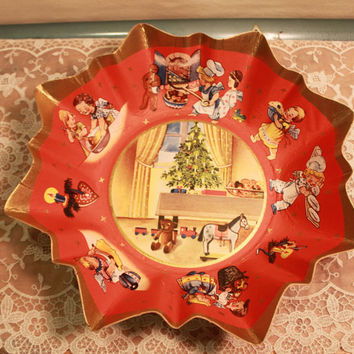 40s Vintage Antique Christmas Bowl Paper Cardboard Made in West Germany Unused Mint German