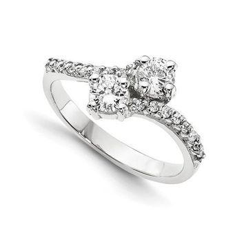1.00 Ct Diamond Two Stone Love Engagement Ring  14k White Gold