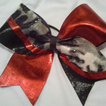 "3"" Texas Size Cheer Bow in Red, Black and Leopard! Big Bow with Mystique Spandex!"