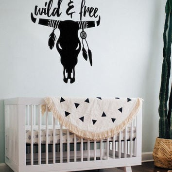 "Wild and Free Cow Skull with Feathers Dream Catcher Boho Bohemian Indian Wall Decal Sticker 19.4""w x 21""h"