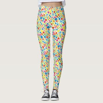 Cute colorful squares patterns leggings