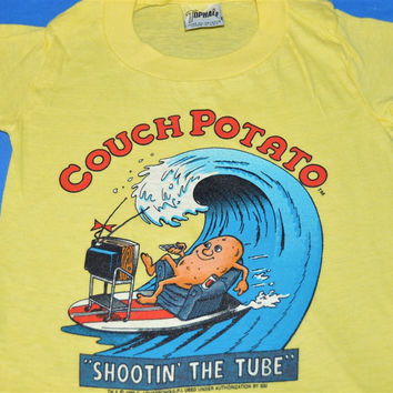 80s Couch Potato Surfing Shootin' the Tube t-shirt Youth 4