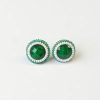 Beaded Green Stud Earrings, Embroidery Dark Green Studs, Medium Stud Earrings, Large Stud Emerald Peridot Jade Earrings