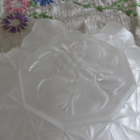 Frosted Glass Serving Dish, Multiple Use Serving Dish, Fruit Bowl, Dining Serving, Open Candy Dish, laslovelies
