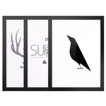 30*40cm Simple Nordic Style Fowl & Sentence Canvas Prints Wall Picture Art Decal Room Decoration Beautiful Reusable Painting 3 Panels with Frame Housewarming Gift