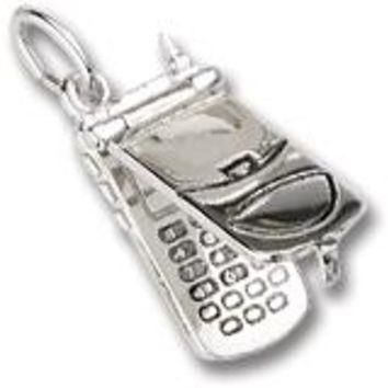 Flip Phone Charm In Sterling Silver