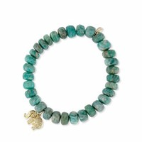 Sydney Evan Amazonite Bead Bracelet w/ 14K Gold Diamond Elephant Charm