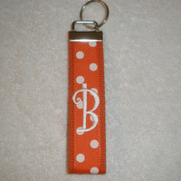 University of Tennessee Monogrammed Key Fob Keychain Cotton Orange Webbing Orange Ribbon Wristlet