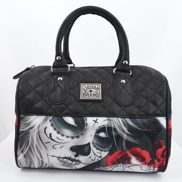 Liquorbrand Eternal Bliss Sugar Skull Lady and Red Roses Small Satchel Purse Crossbody bag