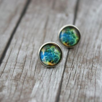 Silver Galaxy Earrings