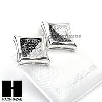 Iced Out Sterling Silver .925 Lab Diamond 11mm Square Screw Back Earring SE002SB