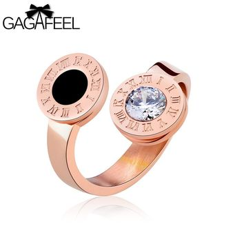GAGAFEEL Women's Ring Finger Open Ring Stainless Steel 8mm Rose Gold Color Roman Numeral Sparking Crystal Luxury Female Jewelry
