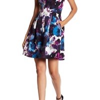 Adrianna Papell | V-Neck Floral Pleated Dress (Regular, Petite, & Plus Size) | Nordstrom Rack