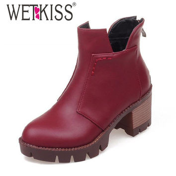 3 Colors Cool Cowboy Fashion Ankle Boots Square Heels Thick Platform Shoes Woman Add Fur Autumn Winter Shoes Female