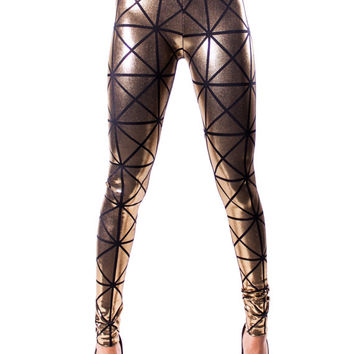 Gold & Black Hologram Disco Leggings