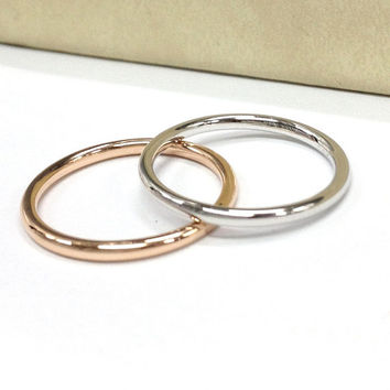 ONE Wedding Ring in 14K Rose/White/Yellow Gold ,Full Eternity Matching Band,Anniversary Fine Ring,Stackable,Unique Thin Design,Fashion New