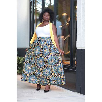 African Print Maxi  Skirt- Grey/Black/Yellow Geometric Print