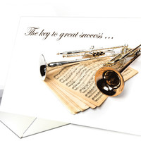 Thank You with Trumpet and Music Sheets card