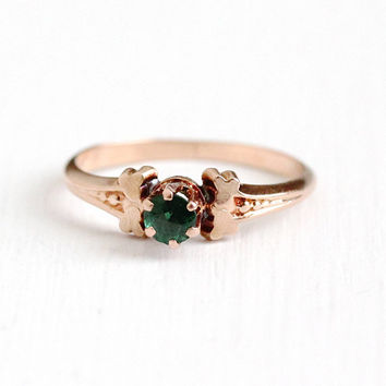 Antique Victorian 10k Rose Gold Garnet Doublet Ring - 1890s Size 5 1/2 Raised Green Solitiare Composite Gem Simulated Emerald Fine Jewelry