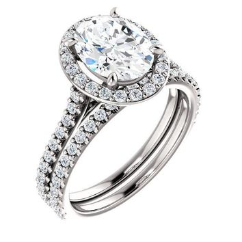Oval Moissanite Diamond Accent Ice Halo Bezel Ring