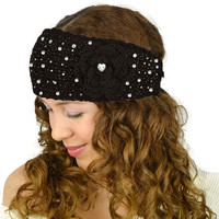 Black Knit Headband Rhinestone Black Headband Black Flower Knitted Headband Black Flower Crochet Headband Black Earwamers Black Knit Turban