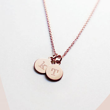 14k Rose Gold Filled Personalized Double Initial Necklace