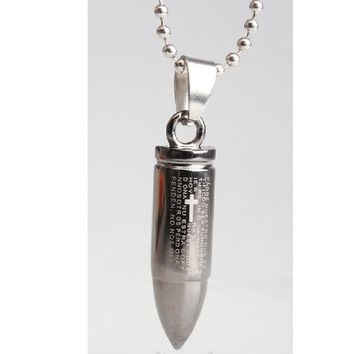 Bullet Silver Color Pendant Necklace for Women