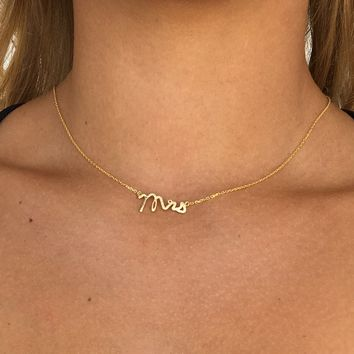 Mrs For The Bride Pendant Necklace in Gold