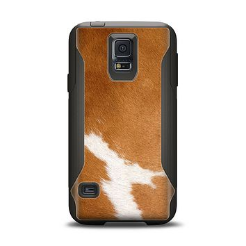 The Real Brown Cow Coat Texture Samsung Galaxy S5 Otterbox Commuter Case Skin Set