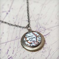 Custom Vintage Map Brass Locket Necklace