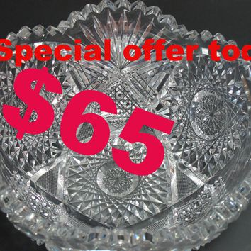 "Special offer today American Brilliant Period hand Cut Glass Antique 8"" bowl ABP Text 724 708 9229"