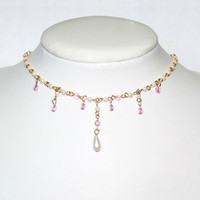 Pearl Choker, Delicate Feminine Pearl Rosary Chain Accented with Pink Crystal, Teardrop Pearl Center